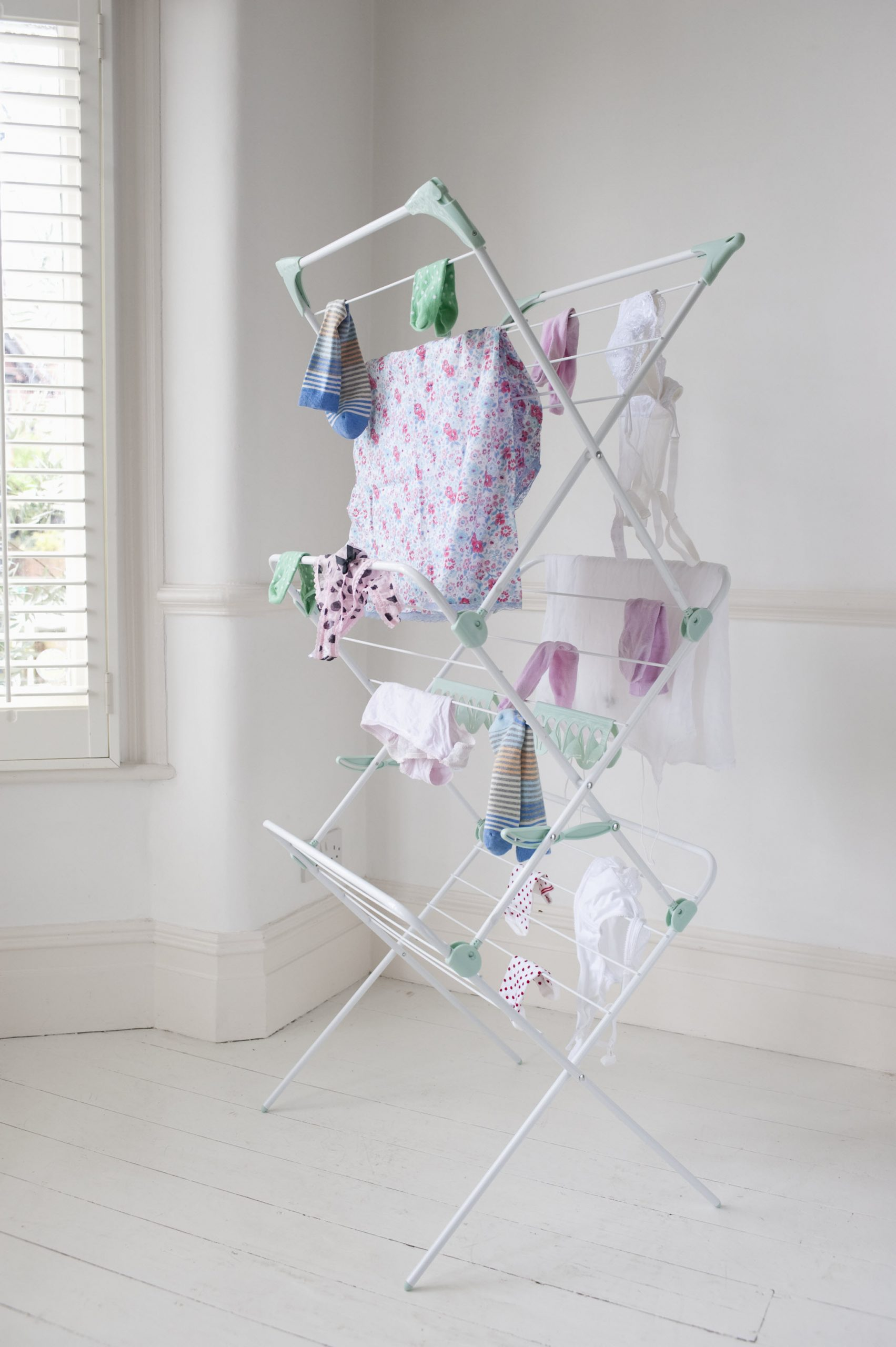 Clothes on laundry airer